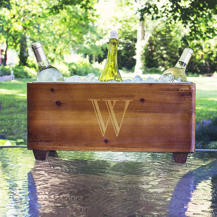 Wooden ice trough for drinks or planter