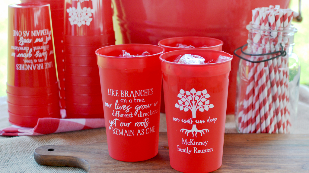 Plastic stadium cups personalized for family reunion