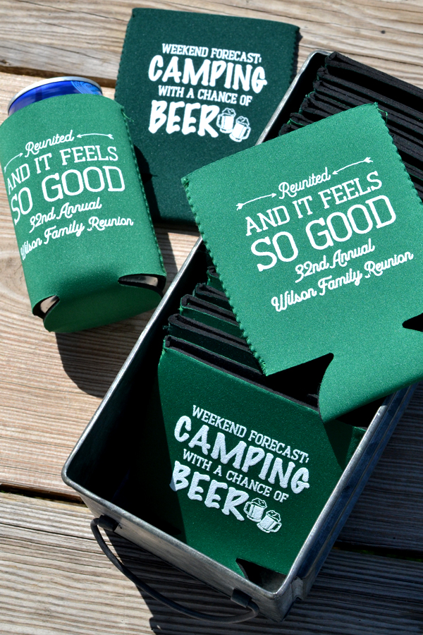 Camping with a chance of beer personalized beer and soda can coolers for family reunion favors