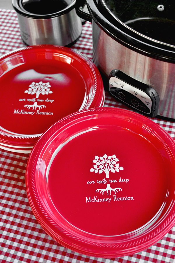 Our Roots Run Deep personalized plastic plates for family reunion