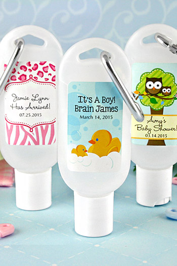 personalized baby shower hand sanitizer favors with carabiner