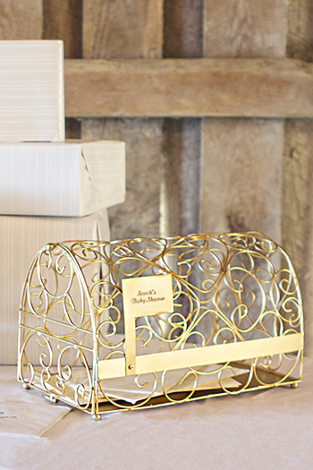 Personalized Gold Metal Scroll Mailbox Card Holder