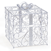 Silver Metal Scroll Gift Card Box Holder