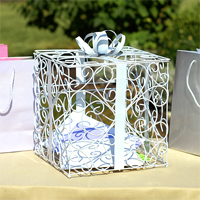 White Metal Scroll Gift Card Box Holder
