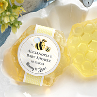 Mommy To Bee Honey-Scented Honeycomb Soap Favors with Personalized Sticker