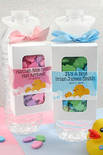 Personalized favor boxes for baby shower : Personalized baby shower bottle hanger favor boxes
