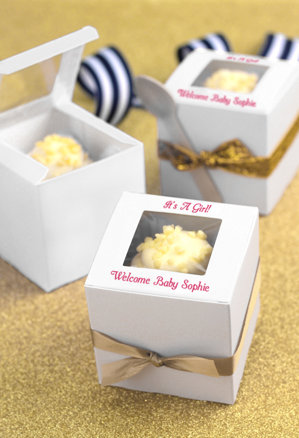 Personalized Baby Shower Cupcake Favor Boxes