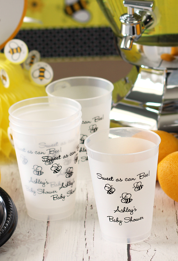 Celebrate your baby shower or Baby-Q with reusable, custom printed frosted plastic cups. Personalized with BS138 - Whale design and three lines of text in Lovable lettering style and Navy imprint