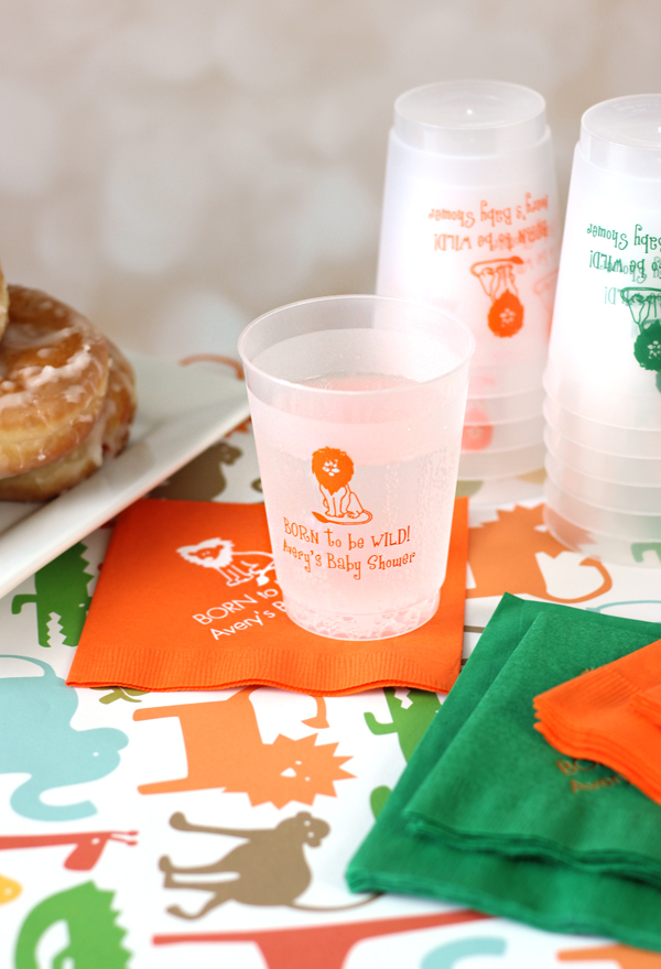 16 Ounce Personalized Frosted Plastic Baby Shower Cups