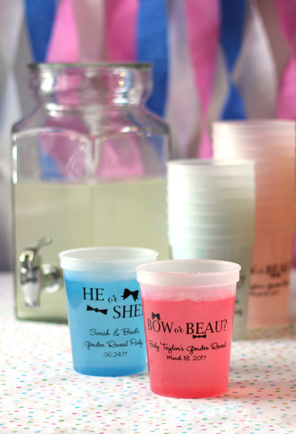 Color Changing Gender Reveal 16oz Baby Shower Stadium Cups