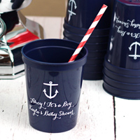 Personalized 16 ounce Navy stadium cups with White imprint, 1085 - Anchor design, and 2 lines of custom print in Perky lettering style