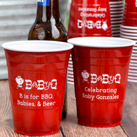 Perfect for an outdoor party, Baby-Q, or backyard baby shower, decorate and celebrate with disposable, custom printed solo cups. Custom printed with BS143 - Baby-Q design and two lines of text in Eligible lettering style and White imprint