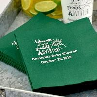 Ideal for the drink or cake table, 3-ply beverage napkins in Forest Green with Ivory imprint, BS117 – Greatest Adventure design, and two lines of print in Eligible lettering style