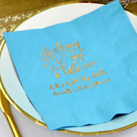 Ideal for the buffet table or to be placed at each place setting, 3-ply dinner napkins in Caribbean Blue with Gold imprint, BS134 - Dream Big Little One design, and two lines of print in Crushine lettering style