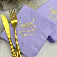 Ideal for the buffet table or to be placed at each place setting, 3-ply luncheon napkins in Hydrangea with Gold imprint, BS133 - Floral Antlers design, and two lines of print in Lovable lettering style