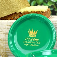 Personalized Festive Green cake plates custom printed with BS121 - Wild Things Are design, Gold imprint color, and text in Crushine lettering style