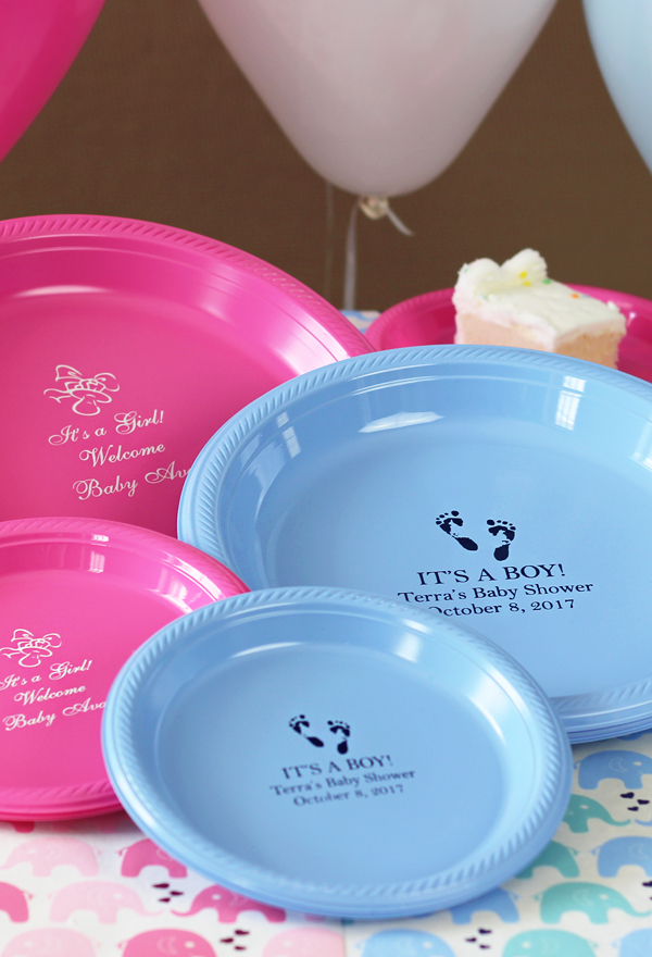 Personalized Plastic Baby Shower Plates ... & Baby Shower Decorations Favors and Gifts Personalized | TippyToad.com