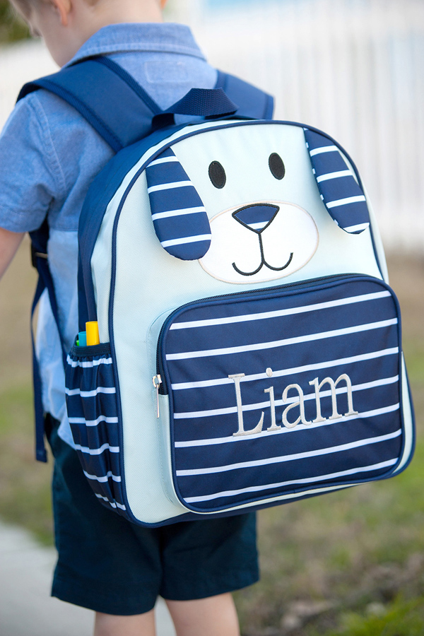 Personalized Navy Puppy Preschool Backpacks
