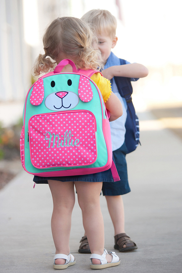 Personalized Pink Puppy Preschool Backpacks