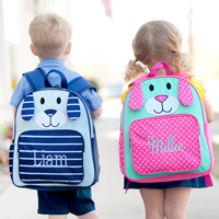 Personalized Pink and Navy Puppy Preschool Backpacks