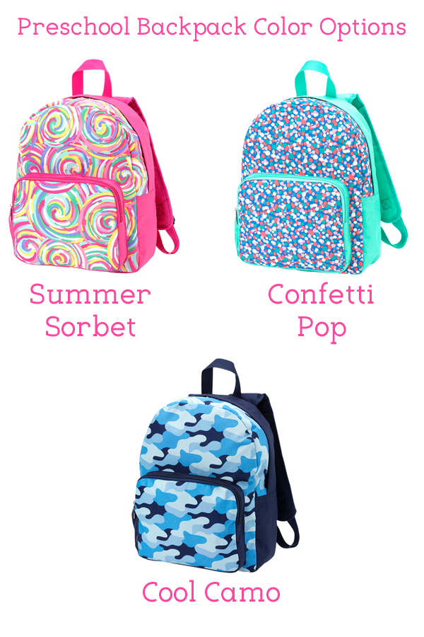 Personalized Preschool Backpack Pattern Options