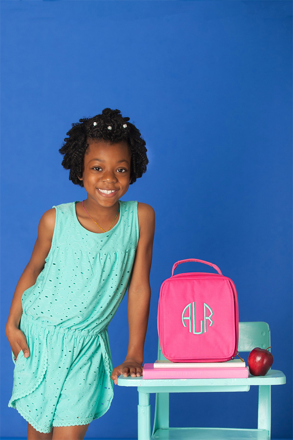 Personalized Hot Pink Soft-Sided School Lunch Bags