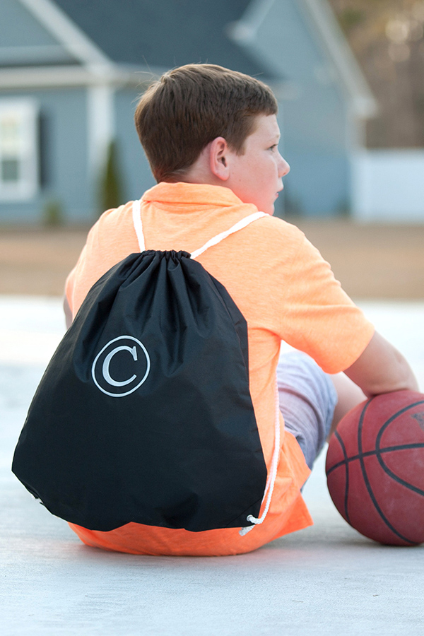 Personalized Black Drawstring Gym Bag