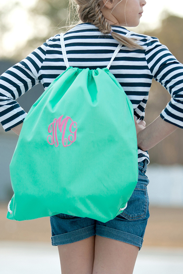 Personalized Mint Drawstring Gym Bag