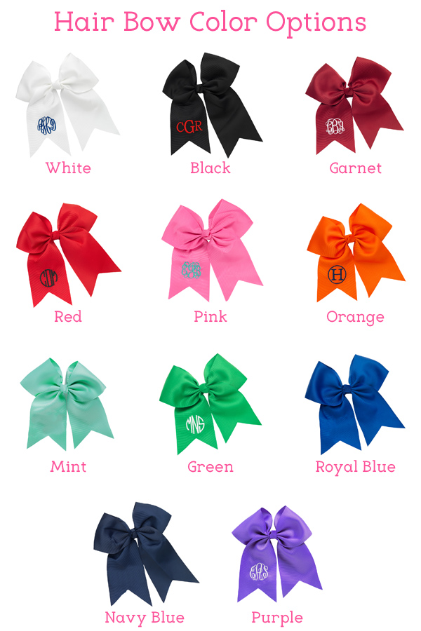 Personalized Preppy Hair Bow Colors