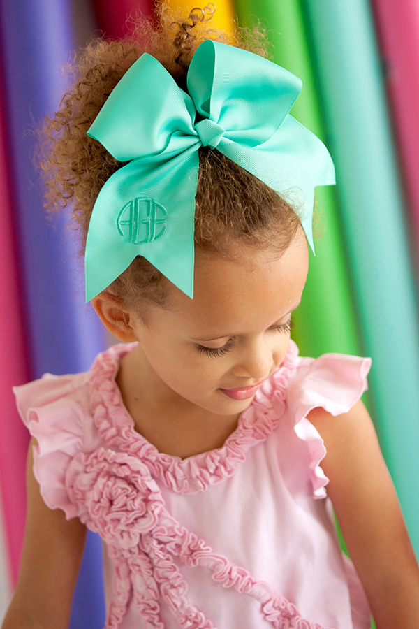 Personalized Preppy Mint Hair Bow