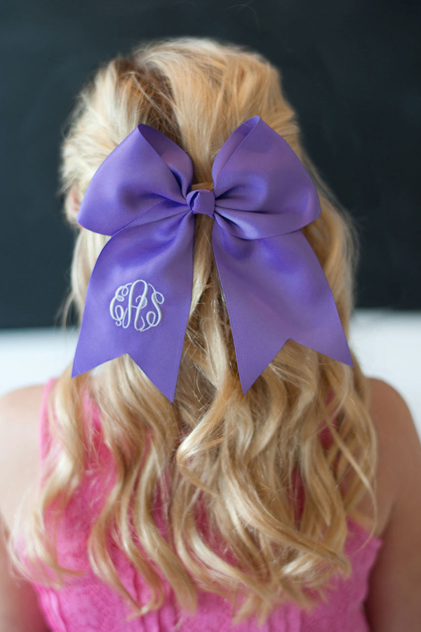 Personalized Preppy Purple Hair Bow