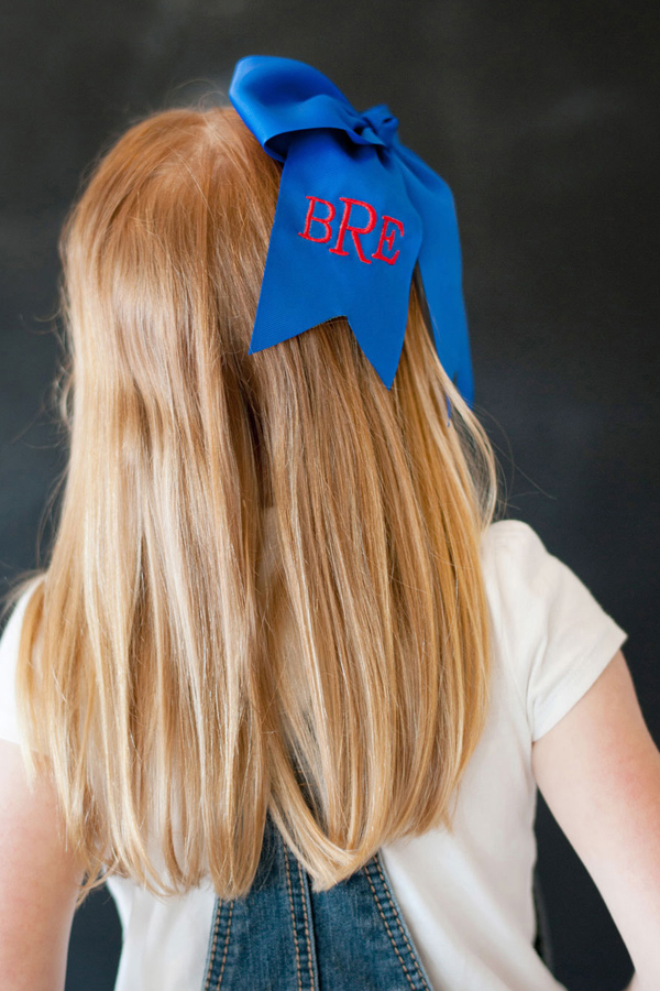 Personalized Preppy Royal Blue Hair Bow
