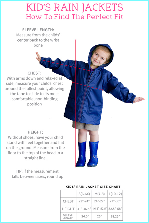 Personalized Kids Youth Rain Jacket Measuring Guide