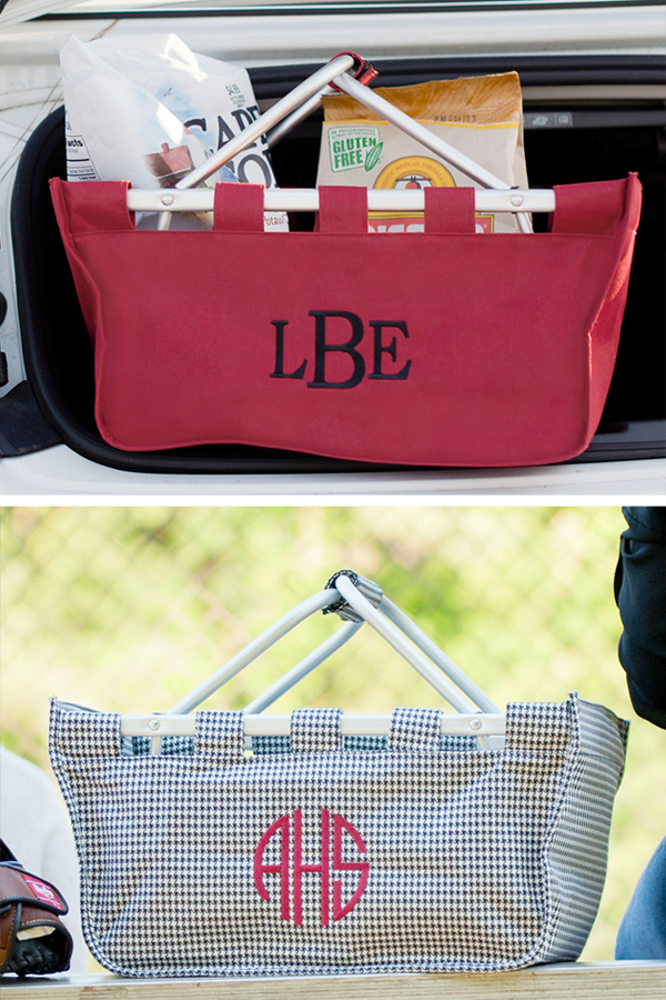 Personalized Large Market Totes in Houndstooth and Garnet