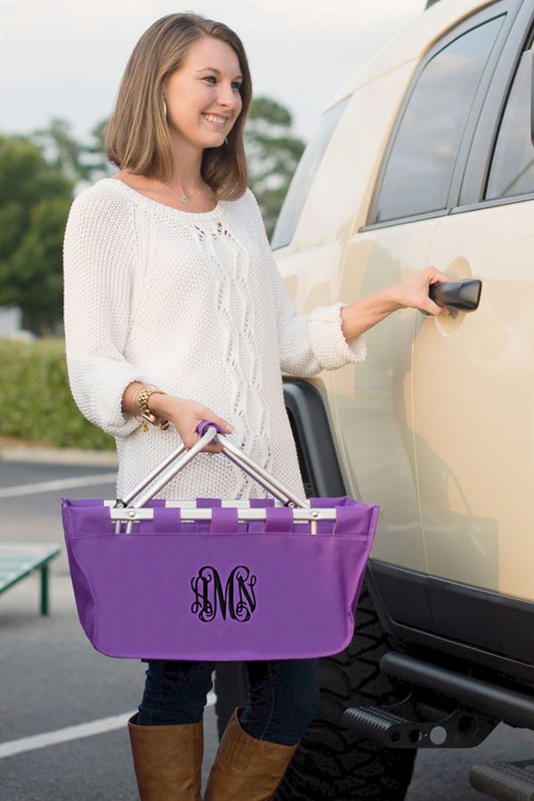 Personalized Large Purple Market Tote