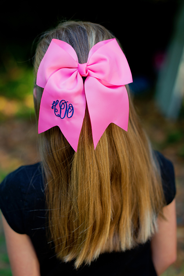 Personalized Preppy Pink Hair Bow