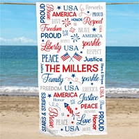Red, white and blue word art beach towel for 4th of July celebration personalized with custom family name