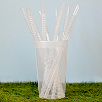 10 inch long clear reusable bendable flexible plastic drinking straws