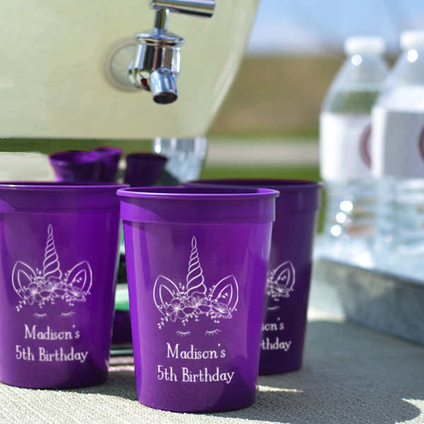 Personalized Plastic Birthday Party Stadium Cups