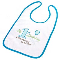 Blue Boys First Birthday Bib