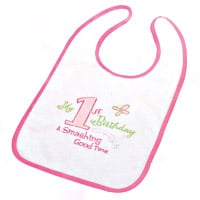 Pink Girls First Birthday Bib