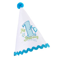 Blue Boys First Birthday Party Hat