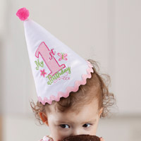 Pink Girls First Birthday Party Hat