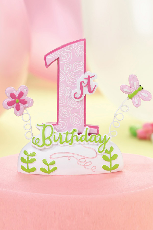 Outstanding Pink Girls 1St Birthday Party Cake Topper Personalised Birthday Cards Veneteletsinfo