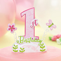 Pink Girls 1st Birthday Party Cake Topper