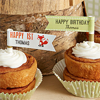 Personalized Woodland Birthday Party Straw Flags