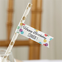 Personalized Birthday Party Straw Flags