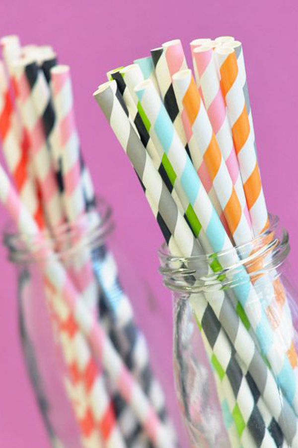 25 Count Paper Party Straws in 18 Colors