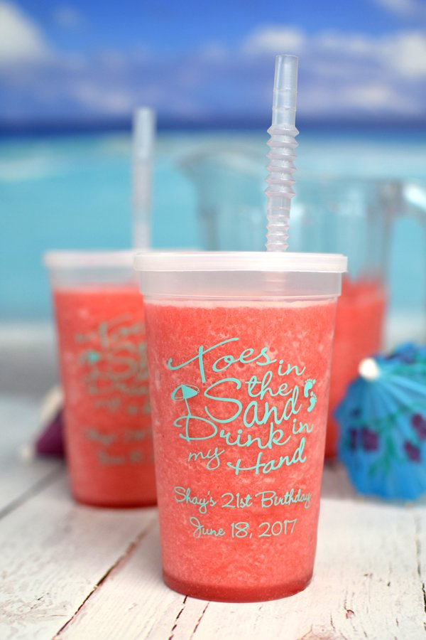 Natural 22 oz stadium cups printed with Tiffany Blue imprint, ABT109 design, and two lines of text in Precious lettering style