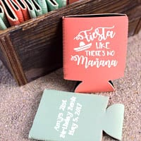 Coral and Mint koozies printed with White imprint, ABT107 design, and three lines of text in Nutty lettering style